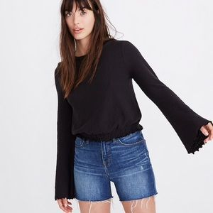 Madewell Texture & Thread Smocked Bell-Sleeve XS